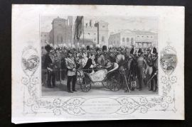 Tyrrell Crimean War 1858 Antique Print. Her Majesty distributing Crimean Medals